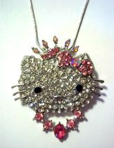 Necklaces Hello Kitty Crystal Princess Charm Necklace Pink & White