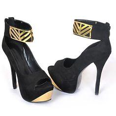 das mulheres sapatos de salto stiletto sandálias plataforma couro sapatos mais cores disponíveis – BRL R$ 188,07