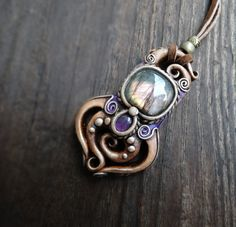 FREE SHIPPING Amethyst and Labradorite Art Pendant by FairyDrop