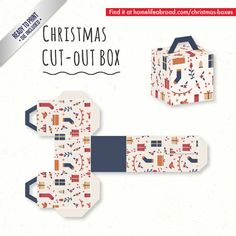 Christmas Gifts Cut-Out Box - with ready to print templates! Check out all the boxes & download at @homelifeabroad.com #christmasgifts #christmasboxes #christmastemplates #christmasprintables #xmas #DIY #boxes #christmasDIY #christmascrafts