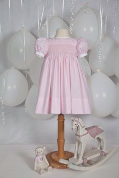 LILLY Hand Smocked Pink Micro Check Baby Girls by JulieGraue, $138.50