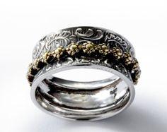 Banda de hilanderos florales plata anillo de gran por ArtisanFeel