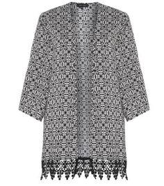 Monochrome Tile Print Crochet Hem Kimono