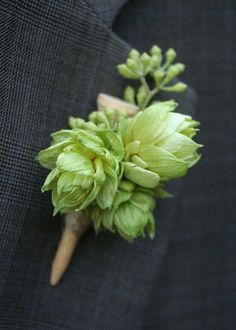 Boutonniere made of golf tee and hops. by bohemianbouquets on Etsy, $15.00