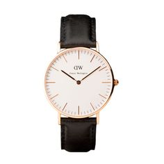 Daniel Wellington in Classic Sheffield Lady (black leather, rose gold face) -- $199