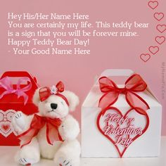 Get your name in beautiful style on Happy Teddy Bear Day picture. You can write your name on beautiful collection of Happy Teddy Day pics. Personalize your name in a simple fast way. You will really enjoy it. Happy Teddy Day Images, Happy Teddy Bear Day, Get Happy, Are You Happy, Valentine Day Week, Cool Names, Christmas Ornaments, Simple, Collection