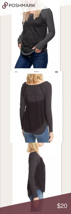 """$58 Free People 'Friday Feelin' Tee in Black/Gray $58 Free People 'Friday Feelin' Tee in Black/Gray ~Size M~  High end department store customer return. Sold out!  Very nice condition Black/gray Hi/lo hem Long sleeve Raw edge trim   Size M  Measures approximately: front length 26"""", back length 28""""  bust across 16.25"""" Poly, cotton, rayon    PRICED TO SELL FAST! PLEASE ASK ANY QUESTIONS BEFORE PURCHASE, THANKS CHECK OUT MY OTHER DESIGNER HANDBAGS AND CLOTHING! Free People Tops"""