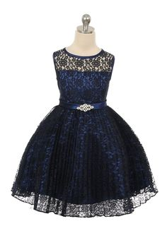 Navy Blue Lace Pleated Flower Girl Dresses