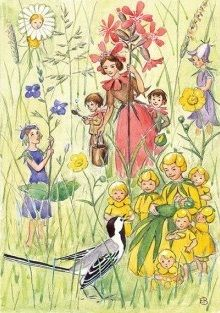 Flower Fairies and Bird, Elsa Beskow illustration Elsa Beskow, Vintage Fairies, Scandinavian Art, Flower Fairies, Fairy Art, Children's Book Illustration, Illustrators, Fantasy Art, Images