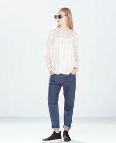 Imagem 1 de TOP GUIPURA COMBINADO da Zara