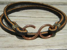 Mens Hammered Infinity Leather Wrap Bracelet. $19.00, via Etsy.