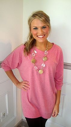 Slouchy Dolman Tunic Pink :: Tops :: The Blue Door Boutique Pretty Outfits, Cool Outfits, Fashion Outfits, Long Shirt With Leggings, Clothes Crafts, Blouse Styles, Boutique Clothing, Dress To Impress, Tunic