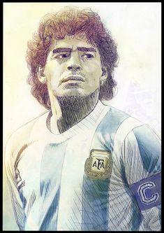 "Tschutti Heftli 2018 Contest ""Ho visto Maradona"" on Behance Best Football Players, National Football Teams, Soccer Players, Football Images, Football Art, Argentina Football Team, Diego Armando, Legends Football, Scribble Art"