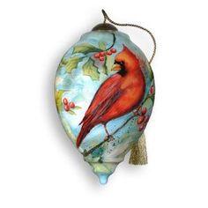 "glass christmas ornaments   ... Ne'Qwa ""Praise the Morning"" Hand-Painted Glass Christmas Ornament #384"