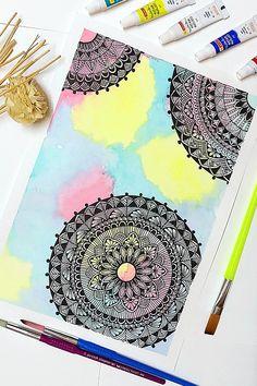 Watercolor Mandala, Mandala Canvas, Mandala Artwork, Mandala Painting, Mandala Drawing, Mandala Sketch, Mandala Doodle, Mandala Art Therapy, Mandala Art Lesson