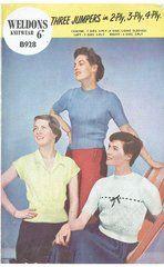 Weldons 928 ladies jumpers vintage knitting pattern