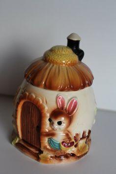 Bunny Honey Pot Rabbit Sugar Jar Vintage Jam Pot Woodland Decor Easter Cottage Chic