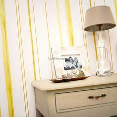 Aquarelle 940932 Papel de Parede Vinílico Lavável Listrado Amarelo, Amarelo Claro, Branco, Creme Suave (quase branco)