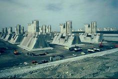 The Oosterscheldekering, (Eastern Scheldt storm surge barrier), between the islands Schouwen-Duiveland and Noord-Beveland) The Netherlands, Designed by Theo R.C. de Vroomen(70's) #utilitarianarchitecture