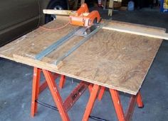 I wanted to get more from my circular saw. I developed and made this portable saw guide based on some 3/4 inch plywood and two very straight pieces of 1 inch angle iron. It can make both crosscuts and rip cuts, if one of the angle iron rails is moved away from the other. This saw guide requires a half-sheet square of 3/4 inch plywood (4 feet x 4 feet).