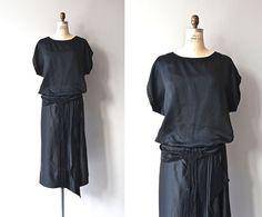 Metropolitan Aire jurk • 1920 zijden jurk • uitstekende zwarte 20s jurk