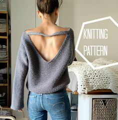 No Purls Sweater Pattern, V Back Knit Sweater Pattern, Big Slouchy Sweater Knitting Patterns, Oversized Sweater, Knit V Neck Sweater, PDF