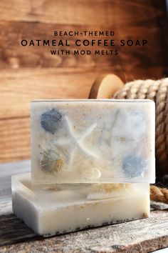 Make this pretty beach themed oatmeal soap with a surprise inside! It