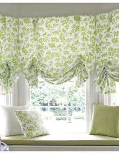 I have a big bow window and am thinking roman shades. These are perhaps a bit too frilly. But Id like to get a nice blue-based print. Decor, Green Decor, Living Room Remodel, Bow Window, Home Decor, Room Remodeling, Curtains, Fabric Shades, Window Treatments