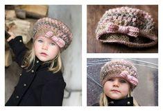 Crochet Puff Stitch Hat with Bow Free Pattern