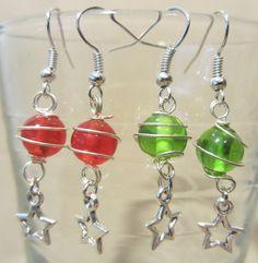 Silver Wire Wrapped Glass Bead Pierced Earrings by Pizzelwaddels
