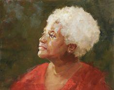 Beautiful head & shoulders oil portrait of a woman by a Portraits, Inc. artist