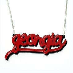 Lipstick Scrawl Name Necklace from Punky Pins.