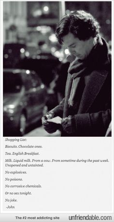 I don't do Johnlock as I think it misses the point and power of the relationship, but I love this shopping list!