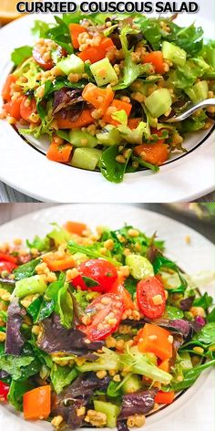 This Curried Couscous Salad is light and refreshing, and oh so delicious. You'll love it for a healthy lunch or a flavorful side at dinner. Curried Couscous, Couscous Salat, Chard Recipes, Pasta Recipes, Cooking Recipes, Healthy Salad Recipes, Vegetarian Recipes, Vegan Vegetarian, Chicken Teriyaki Rezept