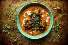 Vegan Lentil Meatballs in Creamy Tomato Curry Sauce | Heather Christo