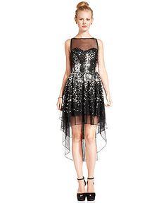 Ruby Rox Juniors Dress, Sleeveless Sequin High-Low Illusion - Juniors Dresses - Macy's