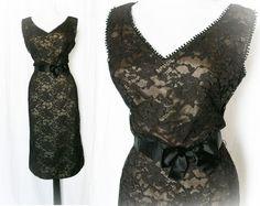 Vintage 50s Dress L Sheer Black Lace Nude Bow Belt at PopFizzVintage, $119.00