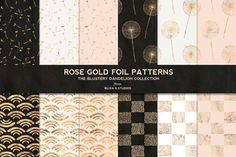 Dandelion Rose Gold Foil Patterns by Blixa 6 Studios on Creative Market