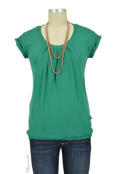 Manon Nursing Top in Green.  Please use coupon code NewProducts to receive 15% off these items. To receive the discount, please place your order by midnight Monday, April 11, 2016