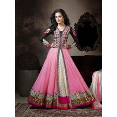 New Latest Heavy Design Pink Anarkali Suits