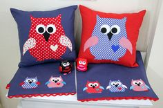 Two Throw Pillow Covers By Red Polka Dot and Blue Houndstooth Owl Appliqued on Indigo Blue, Red  Duck Linen Fabric