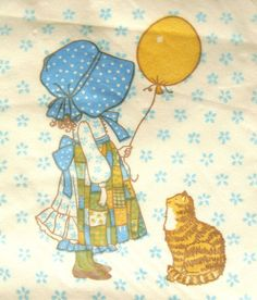 Vintage 1979 Tabby Cat Kitten Paper Napkins Holly Hobbie Decoupage Serviette Old