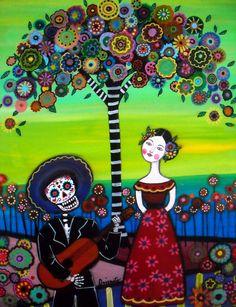 Mexican Day of the Dead  Folk Art Serenata Mariachi by prisarts, $25.00
