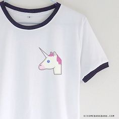 Unicorn Emoji_Ringer Tee_White_Zoom