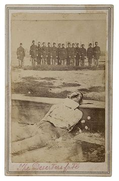 """""""The Deserter's fate."""" A Union deserter executed by firing squad is posed on his coffin as a line of Union soldiers pose in the background, c. 1861."""