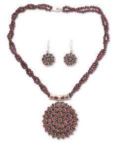 Garnet jewelry set, 'Scarlet Galaxy' - Floral Sterling Silver Beaded Garnet Jewelry Set $219.95 (Jan Fash Set)
