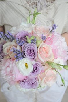 Lovely pastel bouquet with Lisianthus, Roses, Peonies, and fresh Lavender.