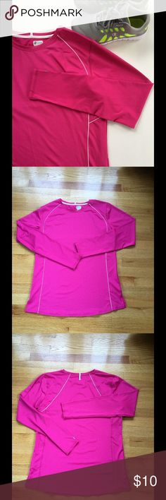 Russell Women's Athletic Shirt Worn once, in like new condition. Size XL. Color is pink with reflective stripes. ⭐Make an offer using the offer button or take advantage of my bundle discount! 🚫Trades Tops Tees - Long Sleeve