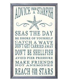 Look what I found on #zulily! 'Advice from a Starfish' Wall Sign #zulilyfinds