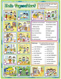 Tag für Tag_Mein Tagesablauf.  Präsens/ Präteritum  Arbeitsblatt mit 3 Aufgaben  - Bilder nummerieren  - Satzergänzungen zuordnen  - Sätze schreiben    Umfang: 2 Seiten (Farbe + SW)